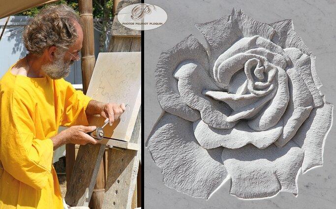 EAUZE_FESTIVAL_GALOP_ROMAIN_2015_le_village_des_artisans_le_sculpteur_sur_pierre_Wim_Pieters_de_Cazaux_d_Angles_32_