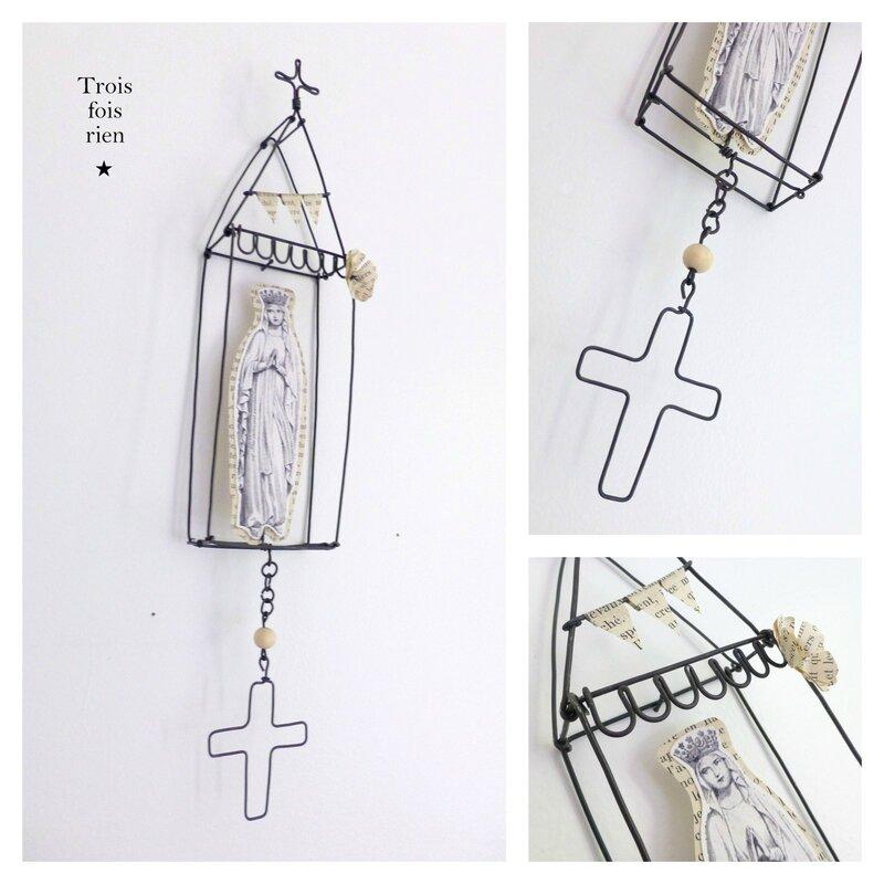 Mini box N°31B, boîtes fil de fer, wire box, bondieuserie, image pieuse, church, wire, trois fois rien