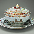 Covered punchbowl with platter, ca. 1745. chinese for the swedish market