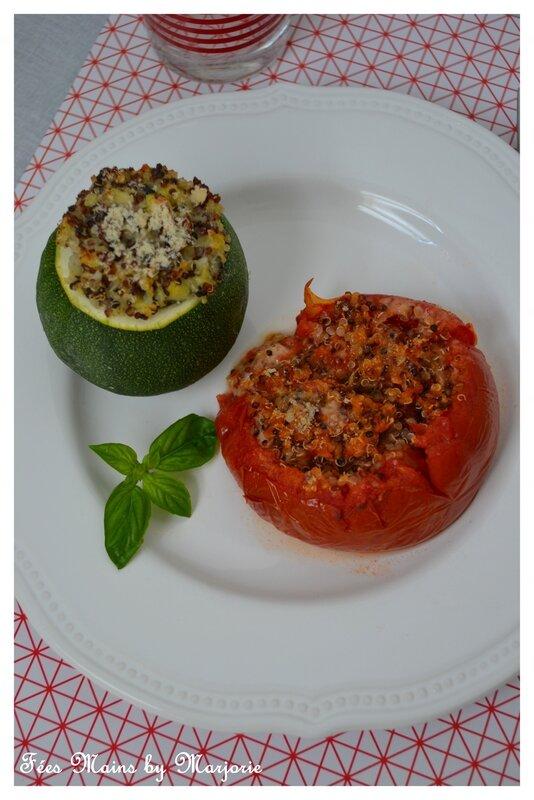Courgettes et tomates farcies quinoa et scamorza