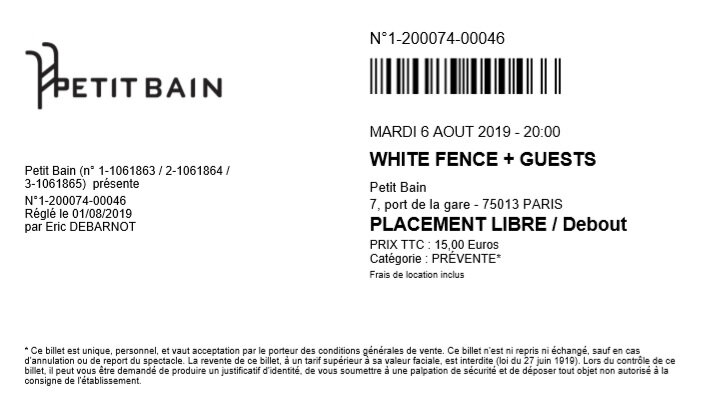 2019 08 06 White Fence Petit Bain Billet