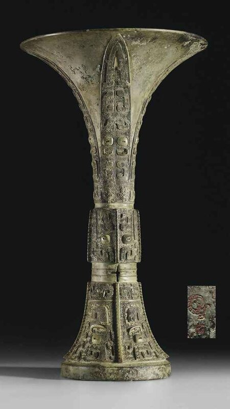 A finely cast bronze ritual wine vessel,gu, Shang dynasty, Anyang, 12th century BC