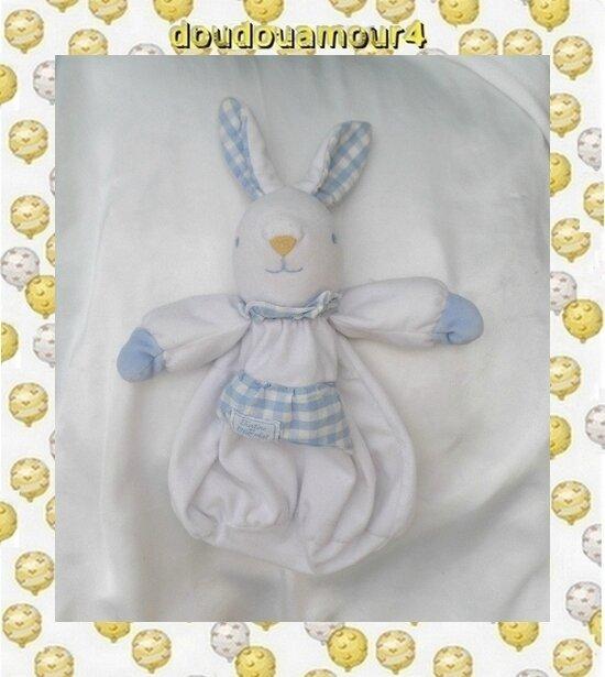 Doudou Lapin Blanc Vichy Bleu Range Pyjama Tartine Et Chocolat