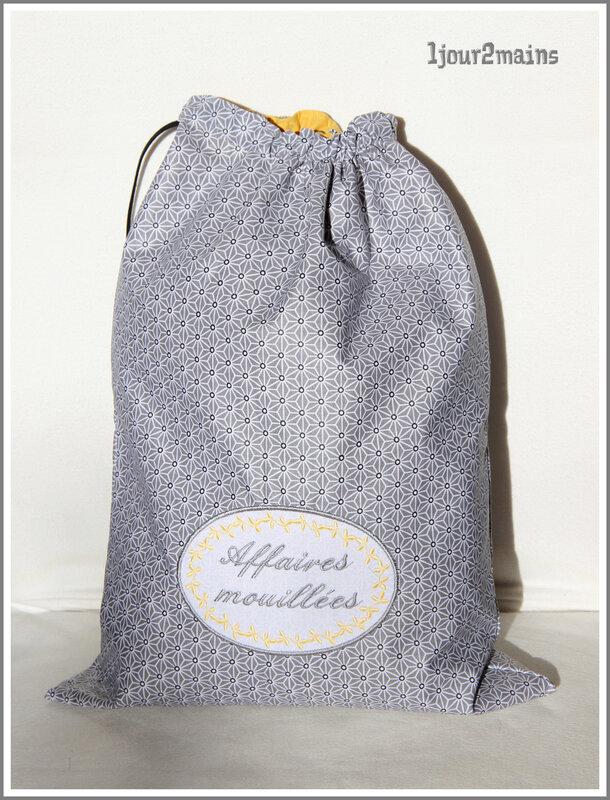sac affaire mouillée gris et jaune