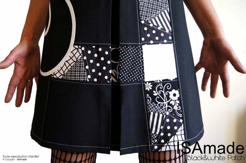 MOD-472C-robe noir & blanc graphique chic élégante trapèze made in France originale habillée printemps 2017 ISAmade