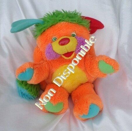 Peluche Doudou Popples Orange Orange Jaune Vintage Mattel 30 cm