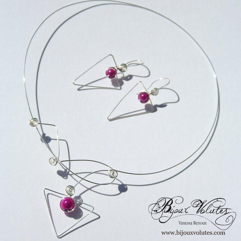 parure-bijoux-mariage-triangle-fuchsia