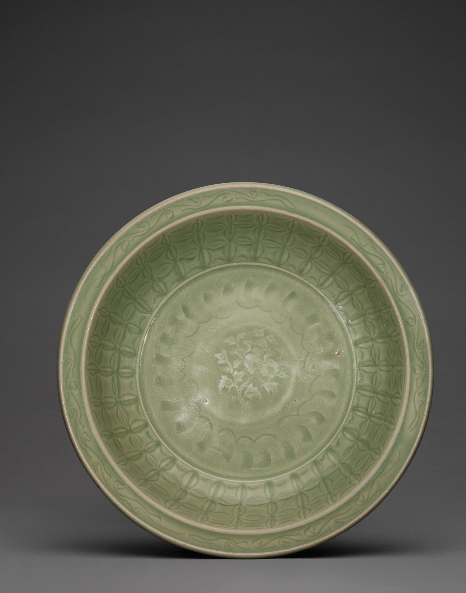 A large Longquan celadon charger, Ming dynasty, 15th century