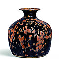 A rare russet-splashed dark brown-glazed truncated vase, tulu ping, Northern Song dynasty (960-1127)
