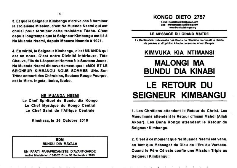 LE RETOUR DU SEIGNEUR KIMBANGU (1er partie) a