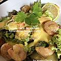 Salade de scampi, hollandaise mangue-curry