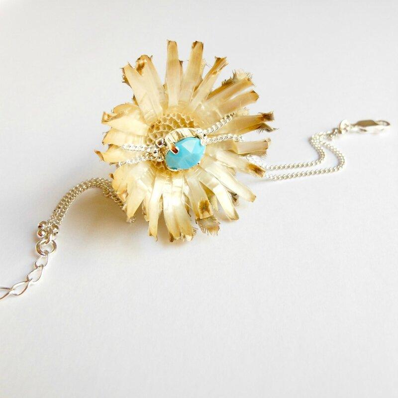 bracelet double chaine en argent turquoise-