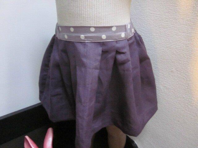 Jupe ZOELIE en lin prune et coton parme à pois blancs - plis sur le devant, fronces dans le dos, poches dans les coutures de côté (5)