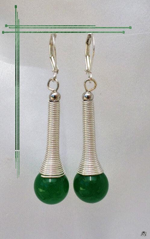Boucles d'Oreilles Ethniques Livia Perle Jade Vert Argent du Tibet