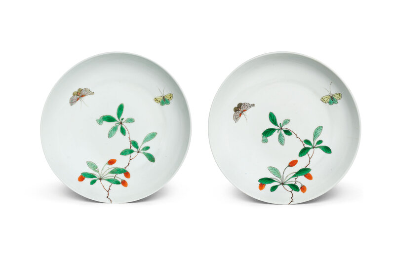 A rare pair of famille verte dishes, Kangxi period (1662-1722)