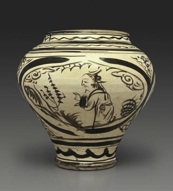 A painted Cizhou jar, Yuan dynasty, 14th century