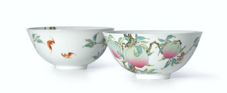 An extremely rare and superbly enamelled pair of Famille-Rose 'Peach' bowls, Marks and period of Yongzheng