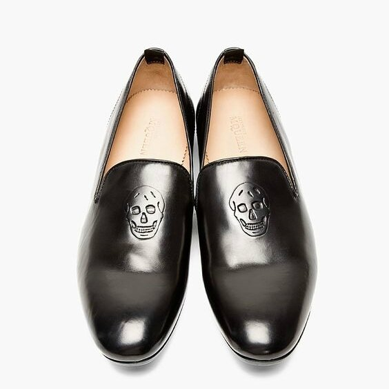 Alexander McQueen, Black Leather Skull-embossed Loafers