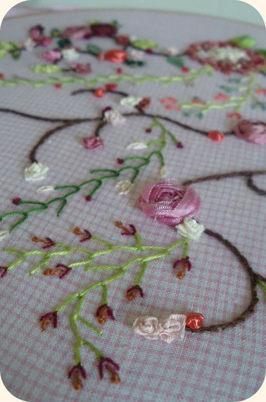 Broderie Roses en cours