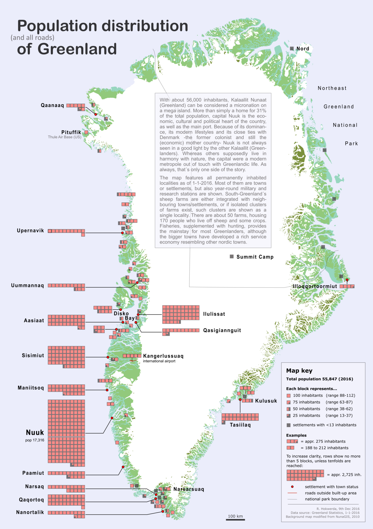 Population distribution (and roads) of Greenland