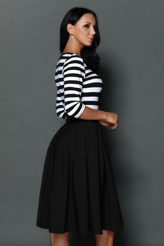 robe mi- longue retro rayee noire et blanche (1)