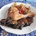 Cuisses de poulet aux aubergines au four