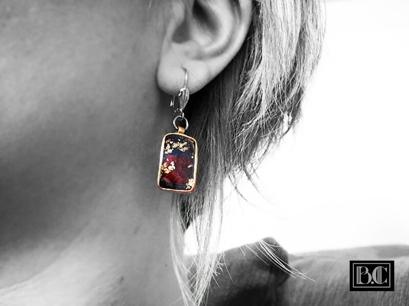 BO rectangle abalone rouge-or bronze doré porté