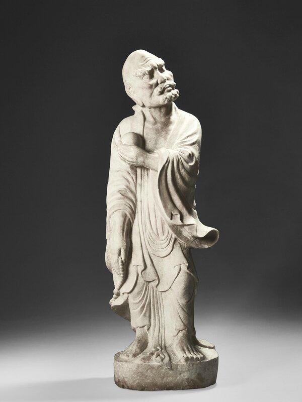 Statuette de Luohan en marbre blanc, Chine, dynastie Jin, datée 1167