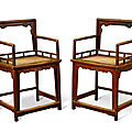A pair of huanghuali armchairs, meiguiyi, late ming - early qing dynasty