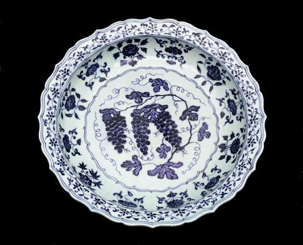 Dish, early 15th century, Ming dynasty. Porcelain with cobalt under colorless glaze. H: 8.9 W: 44.7 cm, Jingdezhen, China.F1953.77. Freer/Sackler © 2014 Smithsonian Institution