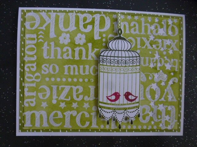 29a Carte Gd format A world of thanks + Birdcage