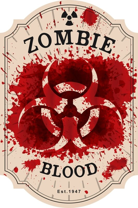 label halloween virus zombie blood antidote