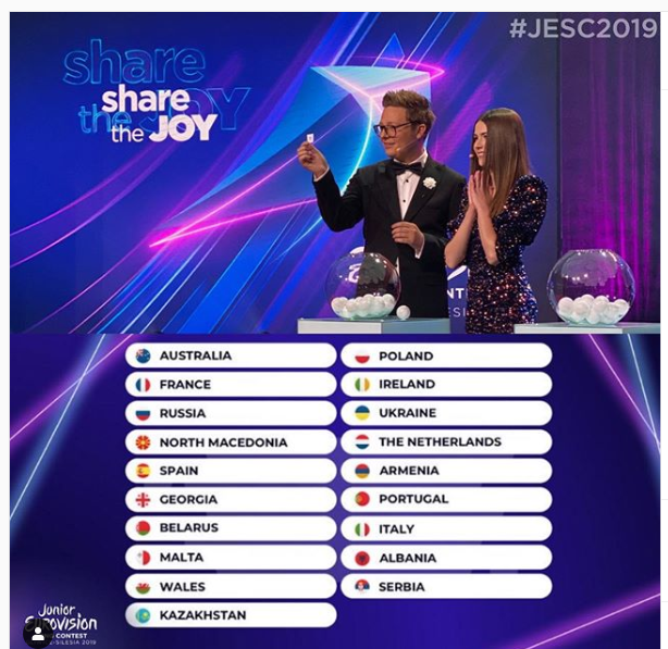 eurovision junior 2019 running order