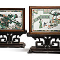 A pair of famille-verte double-sided plaques mounted as table screens, qing dynasty, kangxi period (1662-1722)