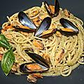 Spaghetti aux moules et pesto alla genovese