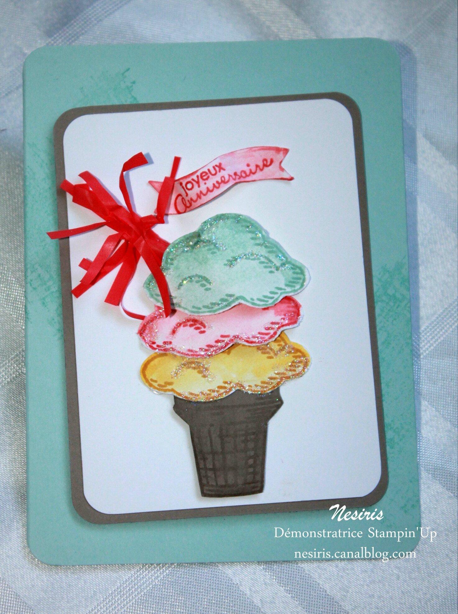 Carte anniversaire2 - Tampon stampin'up Parcelles de vie