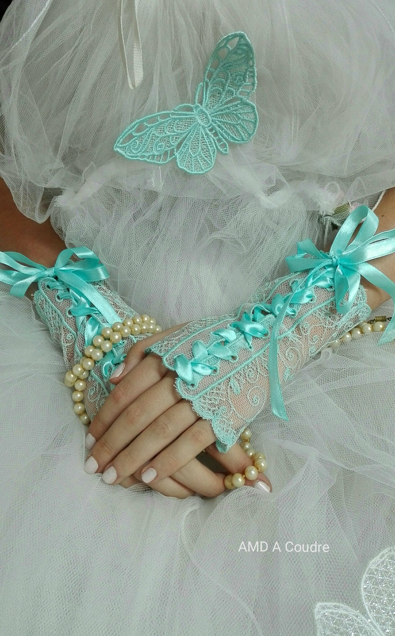 MITAINES BLEUES de mariage wedding AMD A COUDRE (4)