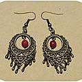 Boucles d'oreilles bohème avec perles de jade teintées
