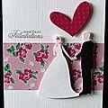 Carte de félicitations de mariage avec couple de mariés