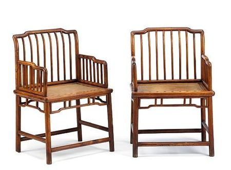 A_pair_of_huanghuali_and_mixed_wood_spindle_back_rose_chairs__meiguiyi