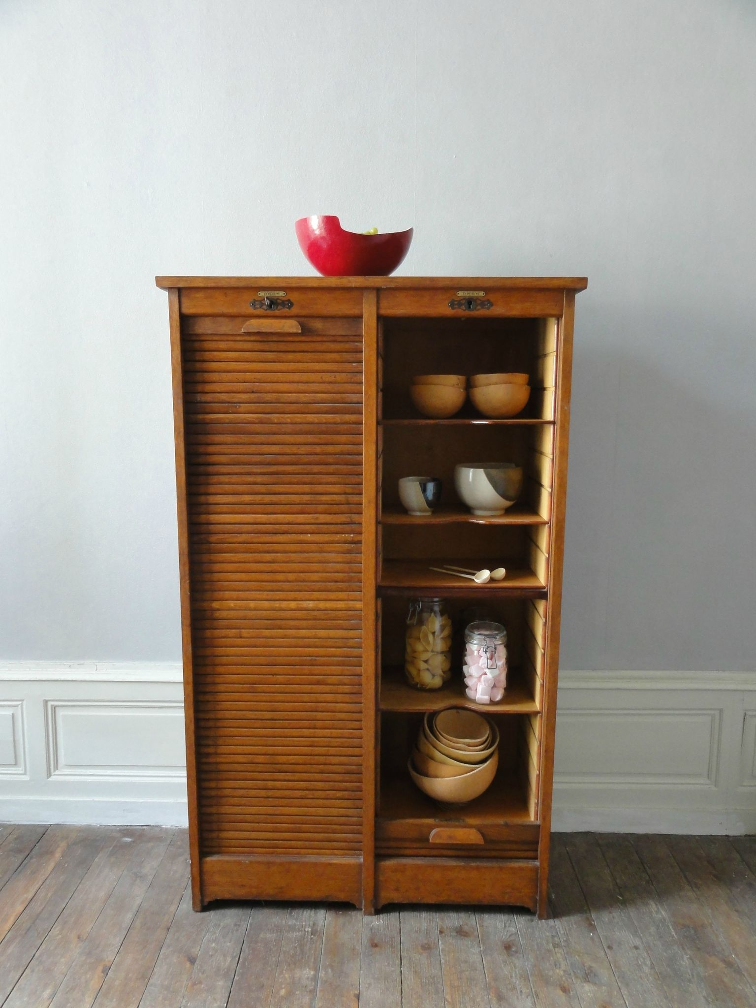 meuble a trier annees 50 en ch ne vintage moi. Black Bedroom Furniture Sets. Home Design Ideas