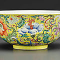 A fine famille rose yellow-ground bowl, daoguang seal mark in underglaze blue and of the period (1821-1850)