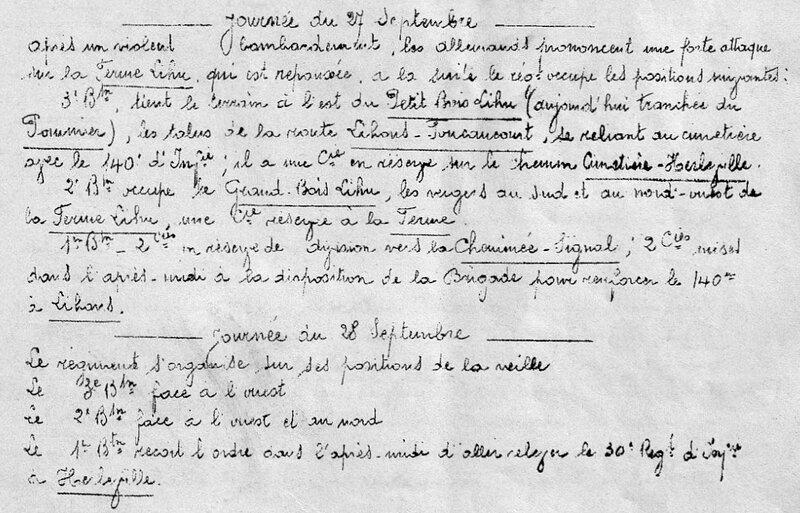 JMO 75e RI, 27 et 29 sept 1914