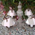 lustre bois abat-jour toile à matelas rayée rose et marron