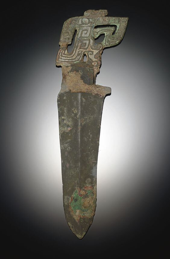A bronze dagger, ge, Shang dynasty, 12th-11th century BC