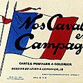 Cartes postales à colorier. nos cavaliers en campagne. dessins de leven et lemonier