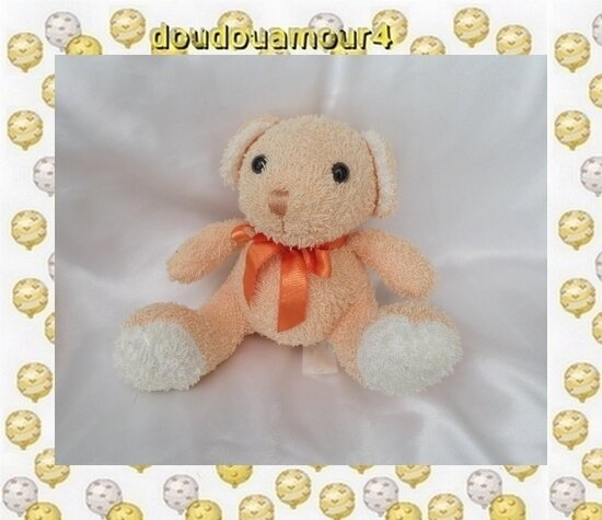 Doudou Peluche Ours Assis Orange Noeud Rêves De Peluches