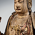 A rare and important polychrome wood seated figure of guanyin, jin dynasty (1115-1234)