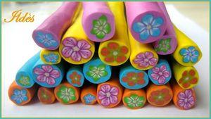 fimo cannes fleurs multicolores
