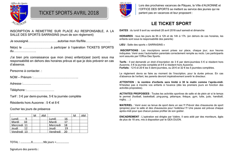 Inscription printemps 2018